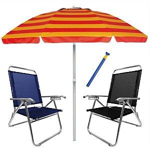 Kit Praia 2 Cadeira King Reclinável Alumínio + Guarda Sol 2,4m Alum + Saca Areia - Zaka - Azul-Preto
