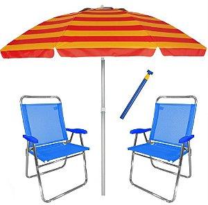 Kit Praia 2 Cadeira King Oversize Alumínio + Guarda Sol 2,4m Alum + Saca Areia - Zaka - Azul