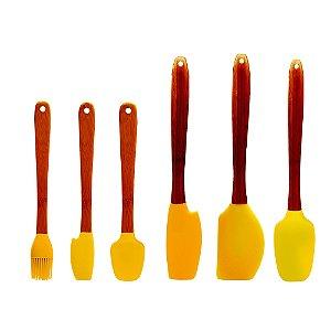 Jogo 6 Espátulas Silicone Bambu Utensílios Confeitar Bolo Cozinha - Yoi - Amarelo