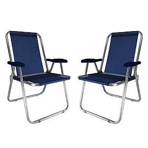 Kit 2 Cadeira Max Alumínio Praia Piscina Camping Até 140 Kg - Zaka - Azul Marinho