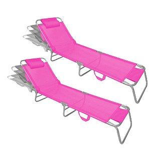 Kit 2 Cadeira Espreguiçadeira Slim Pink Alumínio Ajustável Piscina Praia Jardim - Zaka