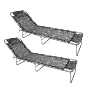 Kit 2 Cadeira Espreguiçadeira Slim Alumínio Zebra Ajustável Piscina Praia - Zaka
