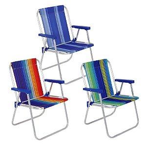 Kit 3 Cadeira Alta Alumínio Praia Camping Piscina Jardim Oxford Sortida - Belfix