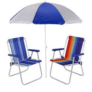 Kit Praia 2 Cadeira Alta Alumínio + Guarda Sol 1,8m Piscina Jardim Camping