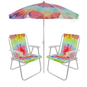Kit Praia Tie Dye 2 Cadeira Alta Alumínio + Guarda Sol 2m Praia Piscina Jardim - Belfix