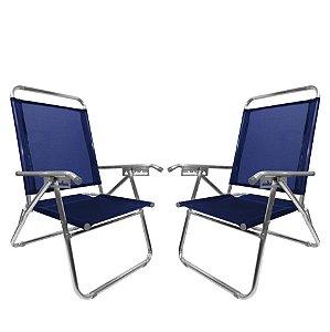 Kit 2 Cadeira De Praia King Oversize Reclinável 4 pos Alumínio Até 140Kg Camping - Zaka - Azul Marinho