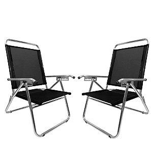 Kit 2 Cadeira De Praia King Oversize Reclinável 4 pos Alumínio Até 140Kg Camping - Zaka - Preta