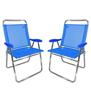 Kit 2 Cadeira De Praia King Oversize Alumínio Até 140Kg Camping - Zaka - Azul