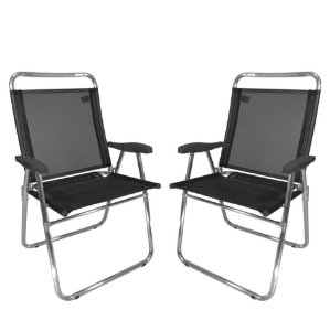 Kit 2 Cadeira De Praia King Oversize Alumínio Até 140Kg Camping - Zaka - Preto