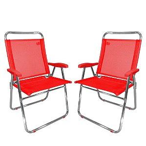 Kit 2 Cadeira De Praia King Oversize Alumínio Até 140Kg Camping - Zaka - Vermelho