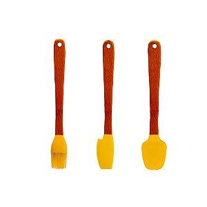Jogo 3 Espátulas Mini Bambu Silicone Utensílios Confeitar Pincel Colher Cozinha - Yoi - Amarelo