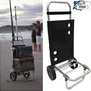 Carrinho De Pesca Alumínio Fish Car Para Pescaria Vara Caixa térmica cadeira - Zaka