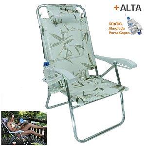 Cadeira Up Line Bambu Reclinável 5 Posições Alumínio C/ Almofada Porta Copos - Zaka
