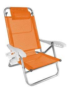 Cadeira Reclinável Top Line 5 Posições Com Almofada E Porta Copos - Zaka - Laranja