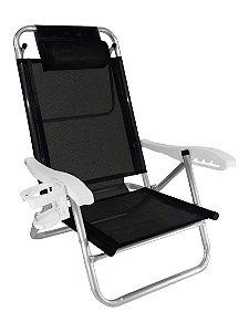 Cadeira Reclinável Top Line 5 Posições Com Almofada E Porta Copos - Zaka - Preto