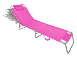 Cadeira Espreguiçadeira Slim Pink Alumínio Ajustável Piscina Praia Jardim - Zaka