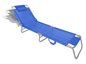 Cadeira Espreguiçadeira Slim Azul Alumínio Ajustável Piscina Praia Jardim - Zaka