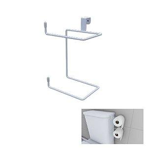 Suporte Porta Papel Higiênico Duplo Caixa Acoplada Vaso Banheiro Essence Branco - Dicarlo