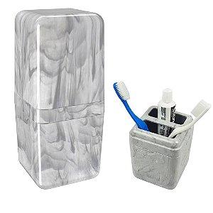 Porta Escova De Dente Creme Dental Com Tampa Pia Banheiro Cube Mármore - 20877/0480 Coza