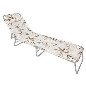 Cadeira Espreguiçadeira Slim Alumínio Bambu Ajustável Piscina Praia - Zaka