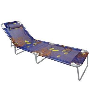 Cadeira Espreguiçadeira Slim Alumínio Azul Peixe Ajustável Piscina Praia - Zaka