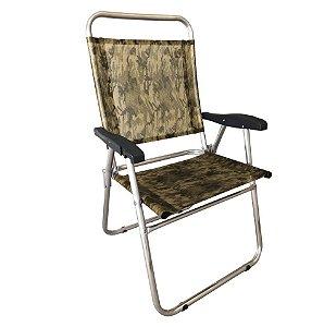 Cadeira Cancun Plus Alumínio Camping Praia Piscina Até 100 Kg - Zaka - Camuflado