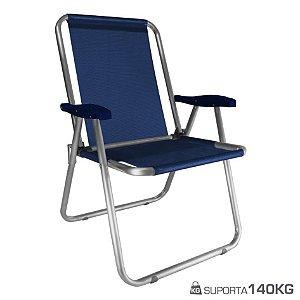 Cadeira Max Alumínio Praia Piscina Camping Até 140 Kg - Zaka - Azul Marinho