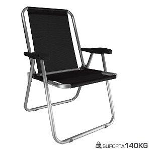 Cadeira Max Alumínio Praia Piscina Camping Até 140 Kg - Zaka - Preto