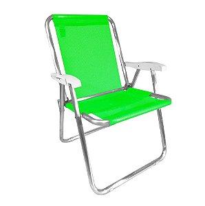 Cadeira Max Alumínio Praia Piscina Camping Até 140 Kg - Zaka - Verde