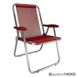 Cadeira Max Alumínio Praia Piscina Camping Até 140 Kg - Zaka - Vermelho