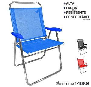 Cadeira De Praia King Oversize Alumínio Até 140Kg Camping - Zaka - Azul
