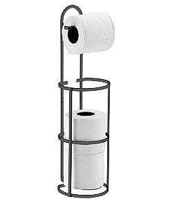 Suporte Papel Higiênico de Chão Parede Aço Preto Onix 1609ox - Future