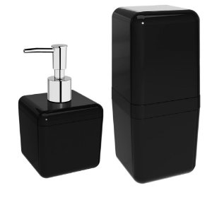 Kit Dispenser Sabonete Líquido 330ML + Porta Escova De Dente Creme Dental C/ Tampa Pia Banheiro - Coza