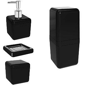 Kit Porta Escova de Dente + Dispenser Sabonete Líquido + Algodão + Saboneteira Pia Banheiro - Coza