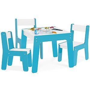 Kit Mesa Mesinha + 3 Cadeira Cadeirinha Infantil Mdf - Junges - Azul