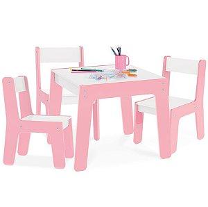 Kit Mesa Mesinha + 3 Cadeira Cadeirinha Infantil Mdf - Junges - Rosa