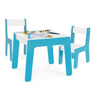 Kit Mesa Mesinha + 2 Cadeira Cadeirinha Infantil Mdf - Junges - Azul