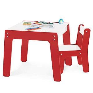 Conjunto Mesa Mesinha + 1 Cadeira Cadeirinha Infantil Mdf - Junges - Vermelho