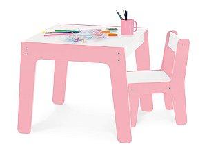 Conjunto Mesa Mesinha + 1 Cadeira Cadeirinha Infantil Mdf - Junges - Rosa