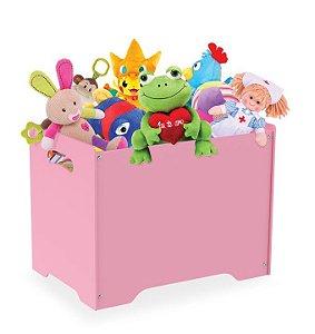 Baú Caixa Organizadora Brinquedos Madeira Mdf Com Tampa Vira Banco - Junges - Rosa