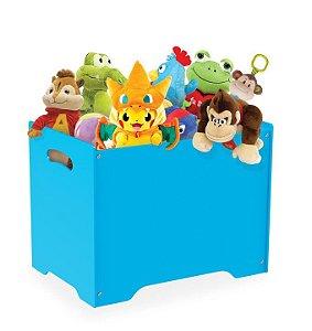 Baú Caixa Organizadora Brinquedos Madeira Mdf Com Tampa Vira Banco - Junges - Azul