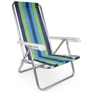 Cadeira De Praia Reclinável 4 Posições Listrada Alumínio - Mor