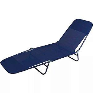 Cadeira Espreguiçadeira Textilene Aço Ajustável Azul - Mor