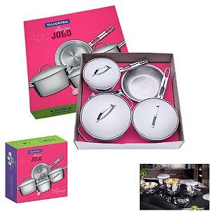 Jogo Panelas Inox 4 Peças Fogão Indução Gás Fundo Triplo Cozinha - 65650270 Tramontina - Inox