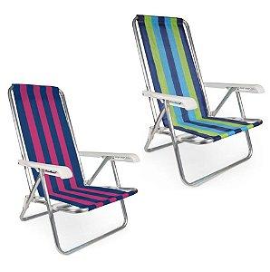 Kit 2 Cadeira De Praia Reclinável 4 Posições Alumínio Listrada - Mor