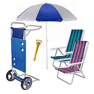 Kit Praia Carrinho De Praia + 2 Cadeira Reclinável + Guarda Sol + Saca Areia - Mor