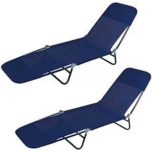 Kit 2 Cadeira Espreguiçadeira Textilene Aço Ajustável Piscina Jardim Azul - Mor