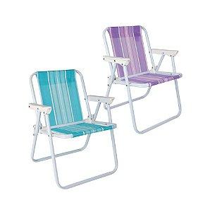 Kit 2 Cadeira Infantil Aço Praia Camping - Mor