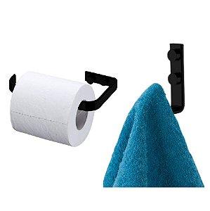Kit Suporte Porta Papel Higiênico Parede + Cabide Suporte Toalha Multiuso Banheiro Preto Fosco - Future