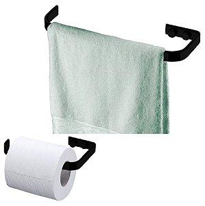 Kit Porta Toalha Rosto Toalheiro 22cm + Suporte Papel Higiênico Papeleira Banheiro Preto Fosco - Future